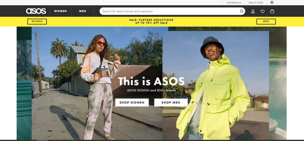 screenshot of asos website
