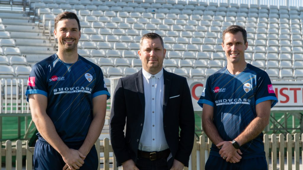 Purpose Media MD Matt Wheatcroft with DCCC players Billy Godleman and Wayne Madsen