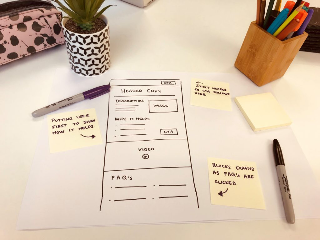 Simple hand-drawn wireframe