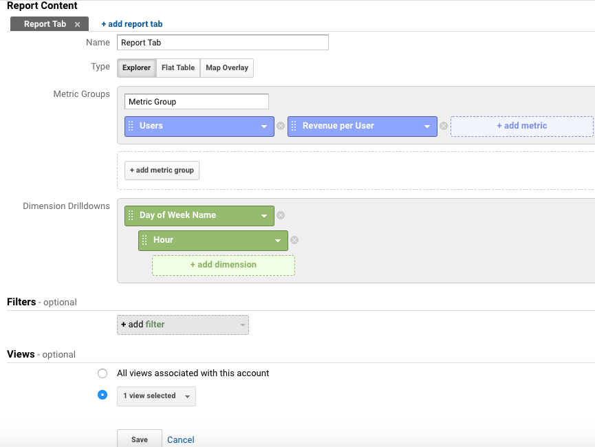 """Settings for a """"day of week, hour of day"""" report in Google Analytics"""